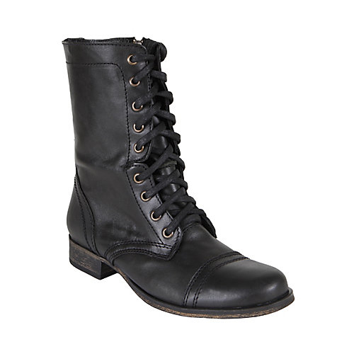 Women's Combat Black Leather Boots by Steve Madden