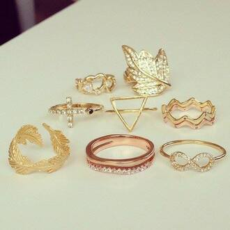 jewels ring gold infinity feathers