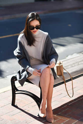 coat tumblr grey coat office outfits work outfits pumps pointed toe pumps high heel pumps nude heels high heels heels sunglasses black sunglasses bag boxed bag brown bag sweater grey sweater skirt midi skirt