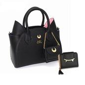 bag,dorky senpai,sailor moon,artemis,luna,black,white,minimalist,cat ear,purse,samantha vega,handbag,cats