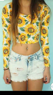 blouse,yellow,sunflower,long sleeves,flowers,daisy crop top,top,forever 21,sunflower shirt,croptoptshirt,shirt,yellow crop top