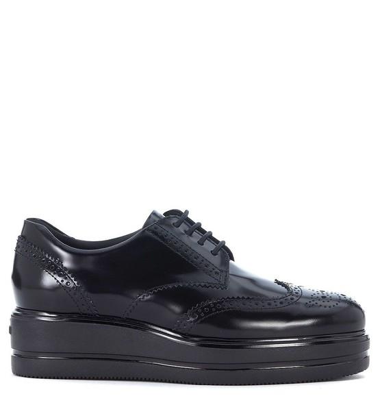 Hogan shoes lace leather black black leather