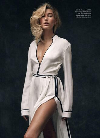 dress slit dress silk dress editorial model hailey baldwin