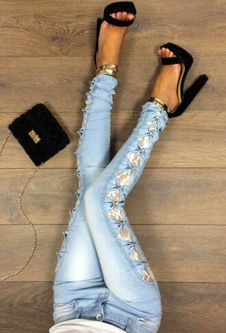 jeans pink boutique lace bow casual lace blue skinny jeans
