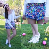 pants,shorts,style,floral,outfit,easter,spring,youtuber,where to get this whole outfit,hair accessory,hair band,bethany mota