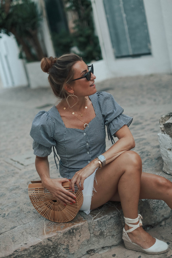 b a r t a b a c blogger top skirt shoes sunglasses summer outfits cult gaia bag wedges espadrilles mini skirt