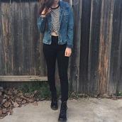 dress,clothes,denim jacket,black skinny jeans,shoes