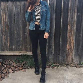dress clothes denim jacket black skinny jeans shoes