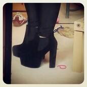 shoes,black,velvet,heel boots,boohoo.com