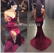 dress,burgundy,silk dress,strapless,gown,prom dress