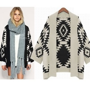 Free shipping! 2014 Spring fashion Women Aztec Cardigan Tribal Print Chunky Wool Cardigan woman batwing sleeve casual sweaters-in Cardigans from Apparel & Accessories on Aliexpress.com