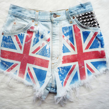 "Union Jack Flag Vintage High Waist Levis, Studded Cut Off Denim Shorts - ""God Save The Queen"" on Wanelo"