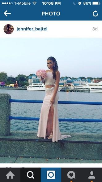 dress light pink two-piece jems