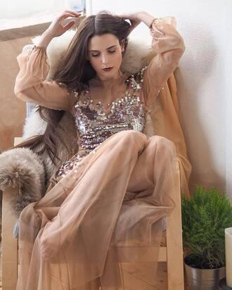 dress tumblr see through see through dress nude dress sequins sequin dress long sleeves long sleeve dress maxi dress long dress