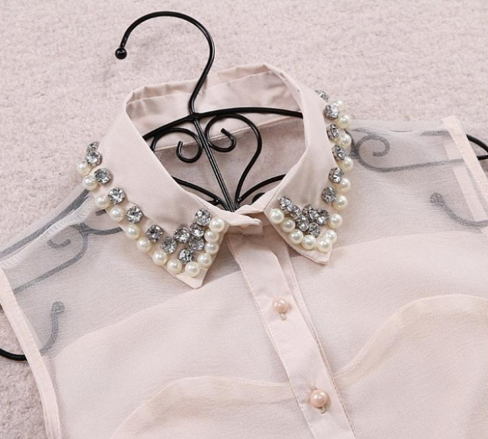 Rhinestone Pearl Collar Bow Dress - Juicy Wardrobe