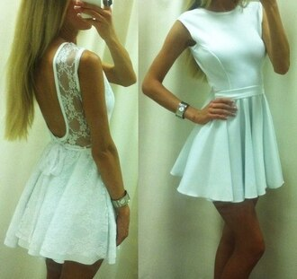 dress white lace loose open back pretty backless white dress white lace dress lace dress mint mint green prom dress lace prom dress formal dress short bow back lace back