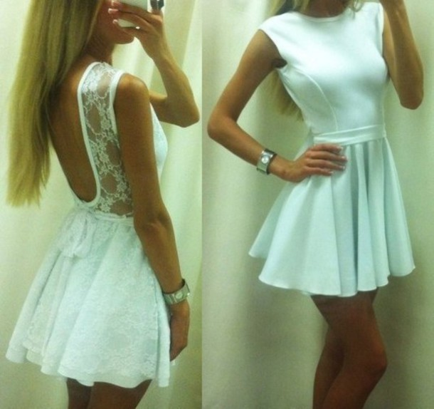 Open Back Short White Dresses