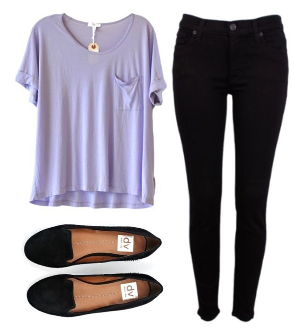 shirt outfit cute jeans t-shirt pants shoes lavender purple purple shirt flowy black flats