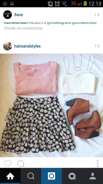 skirt cute floral floral skirt outfit style summer outfits summer sweater