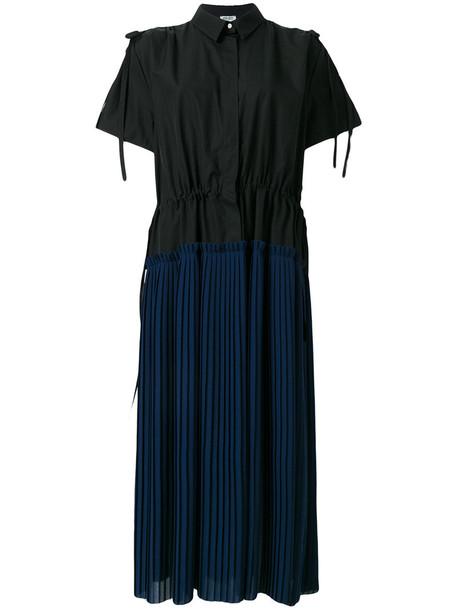 Kenzo dress shirt dress pleated women cotton black