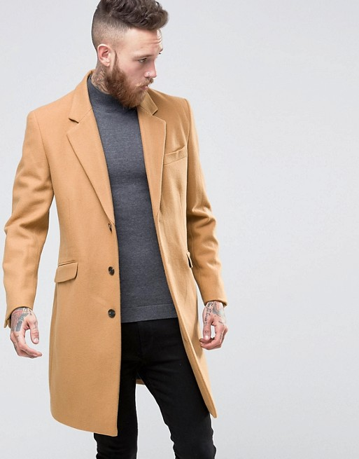 ASOS Wool Mix Overcoat In Camel at asos.com