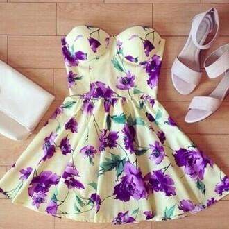 floral dress floral dress flower print flower dress sexy cute flowers vintage vintage dress retro yellow dress purple dress green dress yellow pastel pastel dress cute dress kawaii
