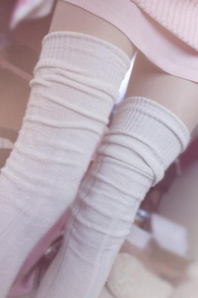 cream socks knee high socks kawaii kawaii fashion cute girly white thigh highs winterwear hosiery