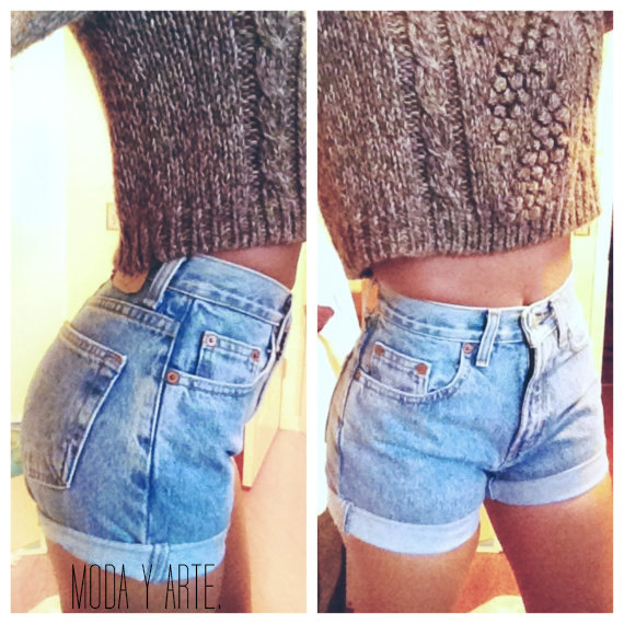 SALE Original Blue High Waisted Shorts levis wrangler by modayarte