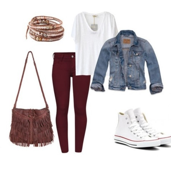 jacket shirt pants t-shirt bag american eagle outfitters purse red jeans burgundy burgundy jeans wine red white blouse jewels denim jacket denim summer jacket converse white converse high top converse coat