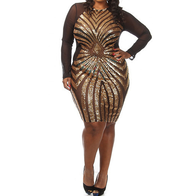 Aliexpress.com : Buy Plus size 3XXL women Diamond Luxe sequins dress  bandage o neck dress gold sequined geometic dress women bodycon club dress  from ...