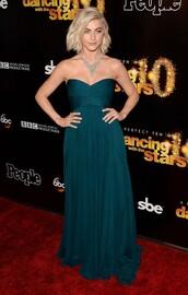 dress,gown,bustier,bustier dress,strapless,julianne hough,red carpet dress,necklace