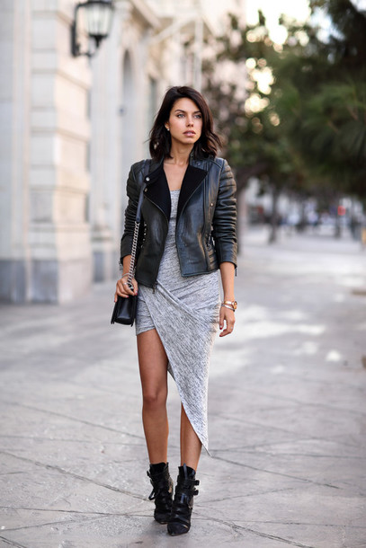 dress asymmetrical dress asymmetry dress asymmetry fashion grey summer dress summer love draped shoes leather jacket grey wrap dress black ankle boots blogger tumblr instagram chic sweet cool sexy girl girly boho dress winter outfits