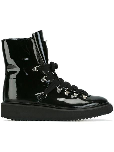fur women boots leather black shoes