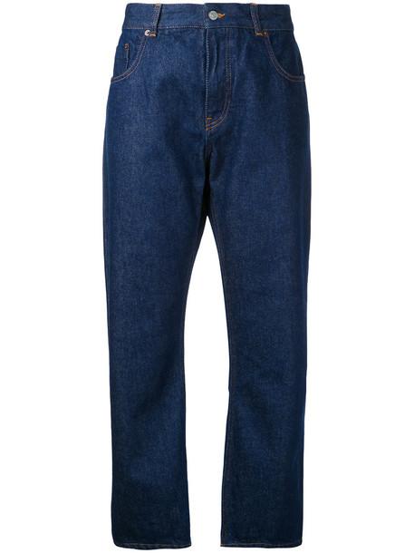 Mm6 Maison Margiela jeans straight jeans cropped women cotton blue