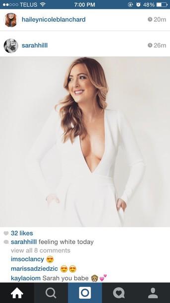dress white dress vneck dress long-sleeves