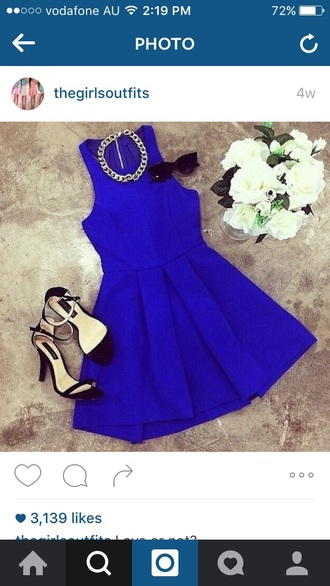 dress royal blue dress party dress date outfit mini dress
