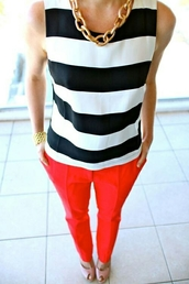 shirt,pants,red pants,top,sleeveless top,striped top,black and white,necklace,bracelets,summer outfits,preppy,office outfits,peep toe pumps,nude pumps,pumps