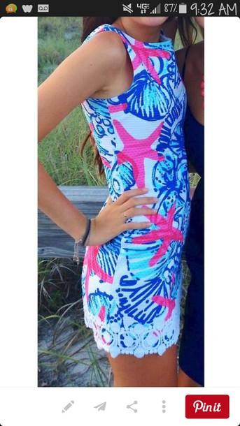 dress blue and pink dress