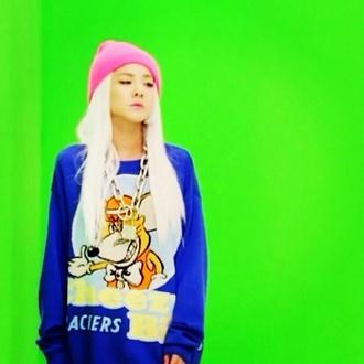 sweater pullover blue dress cartoon 2ne1 2ne1 sandara park korean fashion korean style