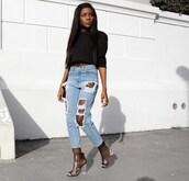 jeans,black long sleeve top,distressed denim jeans,transparent boots,blogger,shoes