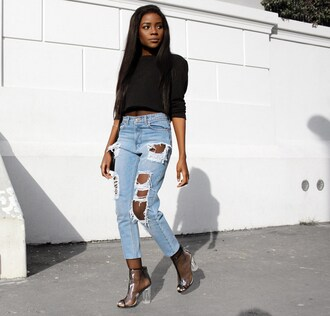 jeans black long sleeve top distressed denim jeans transparent boots blogger shoes