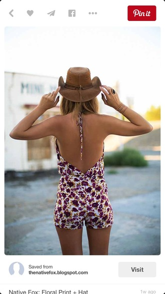 romper floral open back halter top