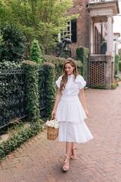 skirt,midi skirt,white skirt,ruffle skirt,top,white top,bag,straw bag,all white everything,sandals