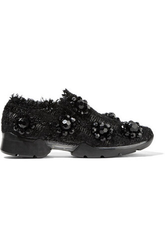 embellished sneakers black shoes