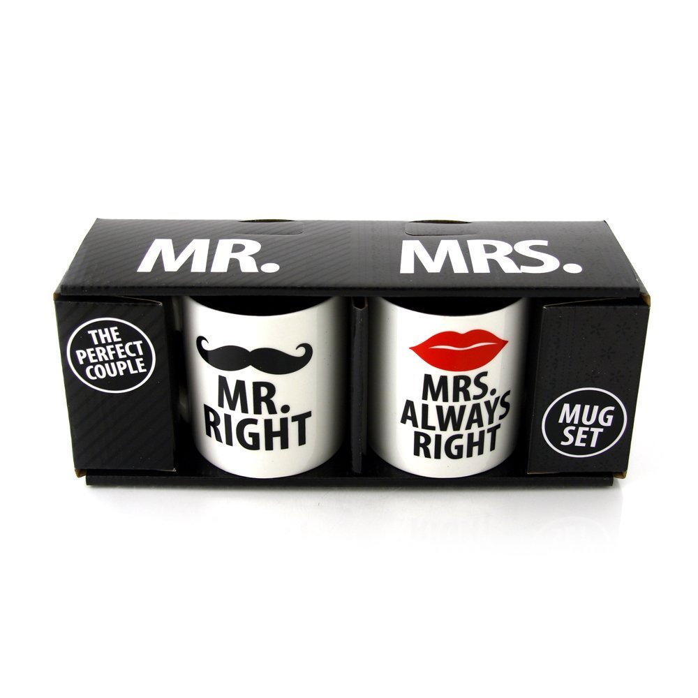 Amazon.com: our name is mud 'mr. right and mrs. always right' mugs by lorrie veasey, set of 2: kitchen & dining
