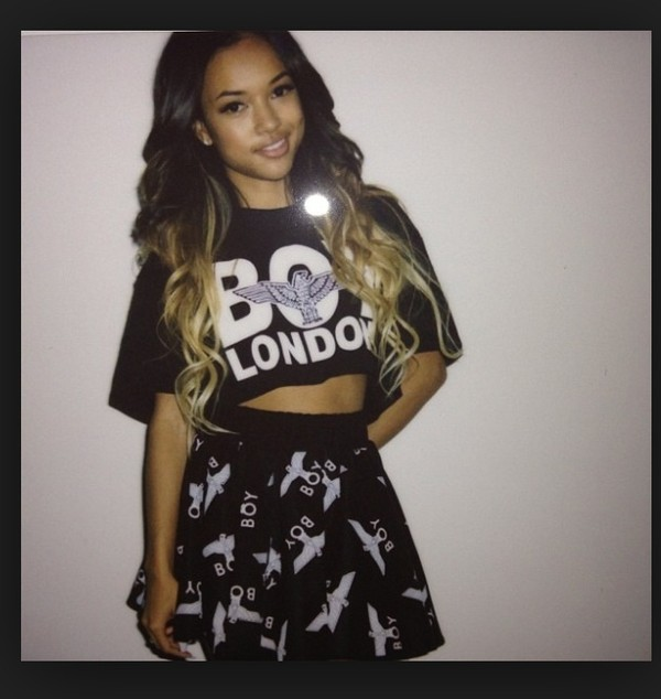 shirt karrueche crop tops skirt hair