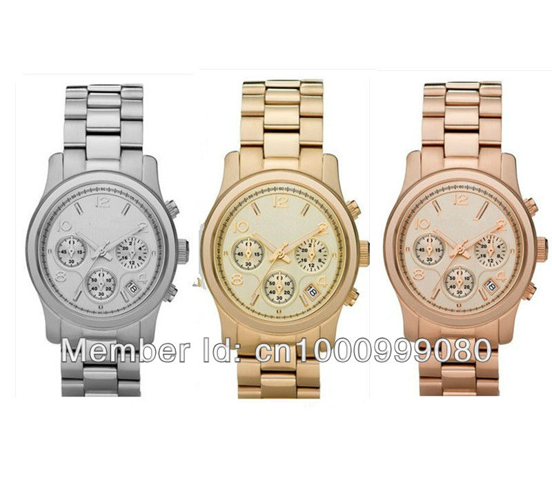 Free shipping & Drop shipping lady rose gold Quartz Watch round stainless steel fashion wristwatch with calendar for women-in Wristwatches from Watches on Aliexpress.com