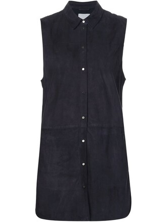 shirt sleeveless suede blue top