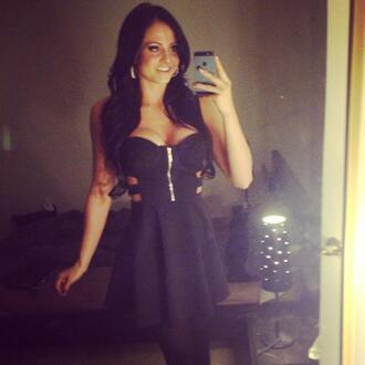 dress little black zip gold silver cut sides little black dress
