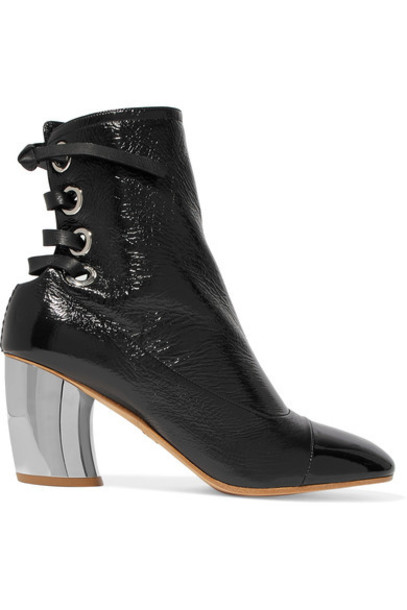 Proenza Schouler leather ankle boots ankle boots lace leather black shoes
